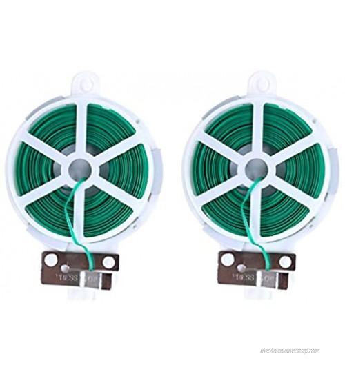Nwvuop Lot de 2 bobines de fil multifonctionnelles pour plantes de jardin avec cutter pour jardinage à la maison et au bureau Vert