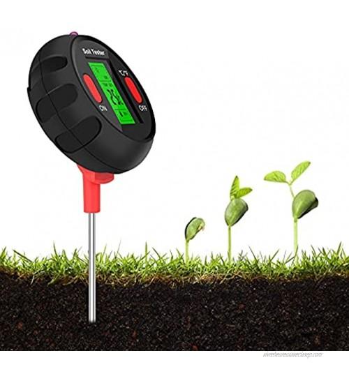 Eyglo Testeur de Thermomètre de Numérique,Testeur de Sol PH 5 en 1 Fonction Lumière Ambiante Température Humidité PH Humidité de l'environnement,pour Plantes en Pot Jardins Pelouses