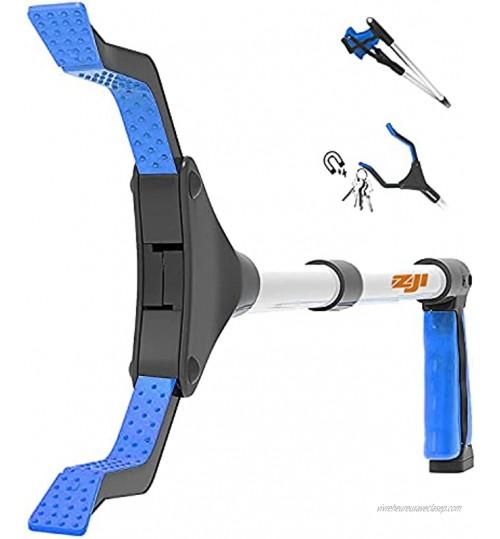 ZOJI Pince de préhension pliable 81,3 cm outil de ramassage léger en aluminium avec poignée rotative en caoutchouc rallonge à bras long pour personnes âgées ramasse-déchets pince de jardin bleue
