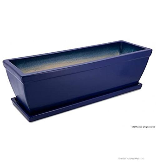 K&K Keramik Jardinière 58 x 20 x 18 cm bleu avec soucoupe en grès résistant au gel