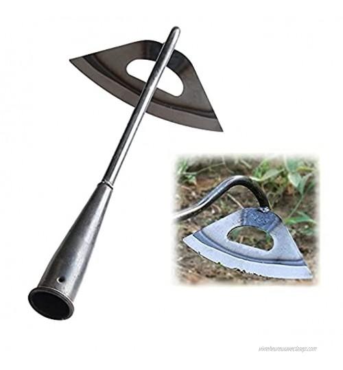 Houe creuse tout en acier durcie à main houe de plantation de jardin outil de sol de desserrage portatif en acier portable outil d'agriculture de jardin de râteau de désherbage domestique
