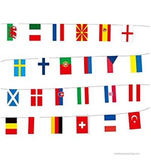 Stormflag 24 drapeaux de la Coupe de l'Europe en polyester décoration de bar longueur : 7 m.