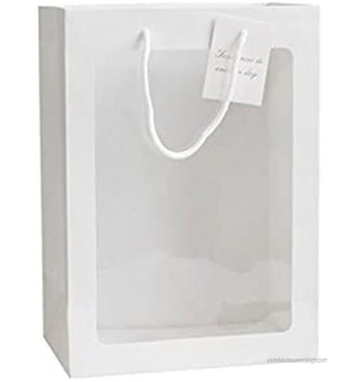 Boîte à fleurs avec poignée en papier kraft étanche pour bouquet de fleuriste emballage cadeau Saint-Valentin mariage décoration de fête couleur : A