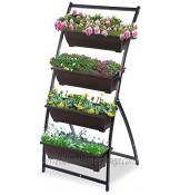 KHOMO GEAR Jardinière verticale avec 4 pots Potager urbain pour fleurs et plantes Jardinière pour terrasse balcon intérieur et extérieur marron et noir
