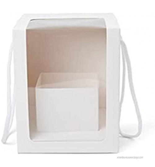 xinlianxin Boîte à fleurs carrée avec fenêtre transparente Boîte décorative pour fleuriste Sac transparent Cadeau de mariage Blanc L