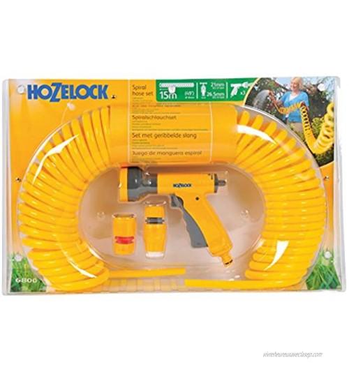 Hozelock 6800P3155 Kit de Démarrage de Tuyau Spiralé de 15 m Jaune 55 x 11 x 35 cm