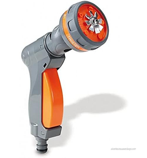 Pistolet arrosage Jardin 2 en 1 Système d'arrosage au Sol 5 Jets Compatible avec Tous Les tuyaux d'arrosage Universel Blocage Automatique Gris & Orange