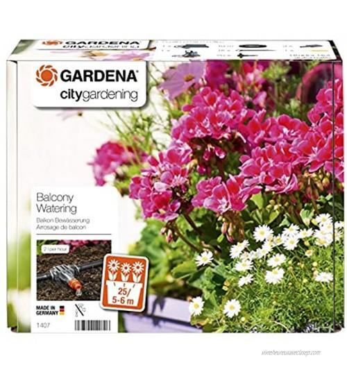 GARDENA Arrosoir Automatique Balcons et Terrasses : Kit d'Arrosage pour Jardinières de Balcon jusqu'à 6 M 1407-20