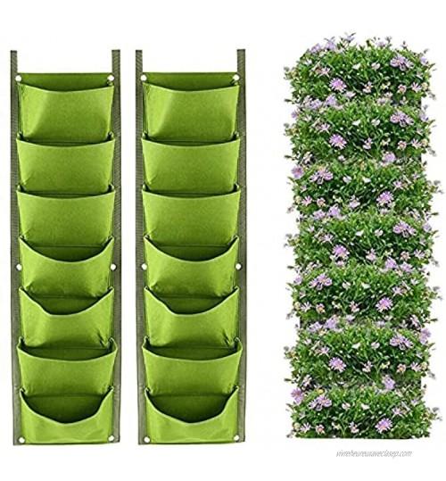 LITLANDSTAR Sacs de jardinière Suspendus Paquet de 2 Jardinière Murale Verticale Suspendue à 7 Poches Plantation de Sacs de Culture Jardinage intérieur extérieur Pot de Fleurs Vert Vertical Vert
