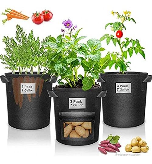 Lot de 5 sacs de culture pour plantes 19 litres Robustes 350 g En tissu non tissé épais Pour légumes fleurs Avec poignées Sacs de culture pour pommes de terre 18 litres