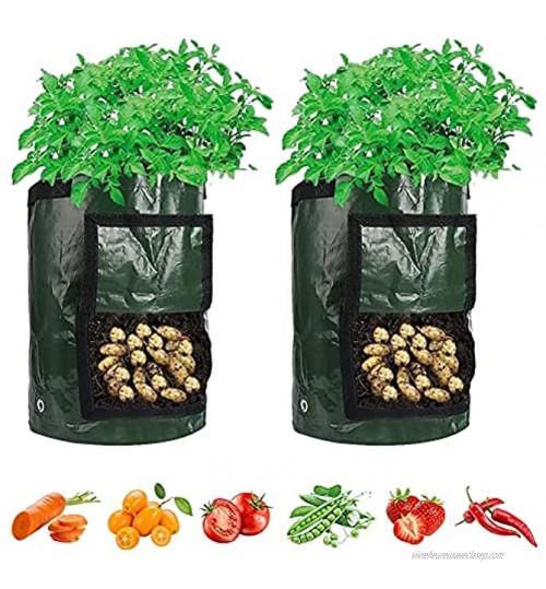 Sac de Plantation de Pomme de Terre,BKJJ 2pcs 10 Gallons Sac de Legumes,Sacs de Plantes Biodégradables avec Poignées pour Pommes De Terre Carottes Fraises Grow Bag