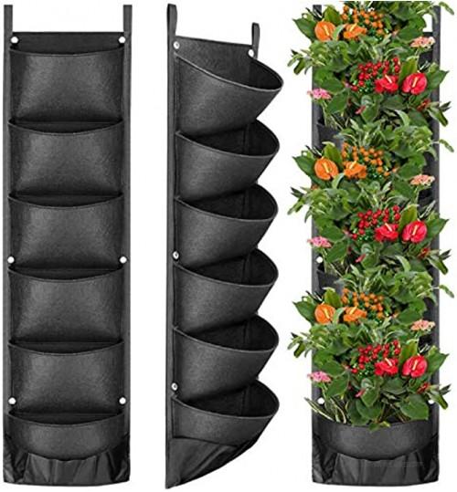 Sacs à Plantes Fengaim Mis à Jour Jardinière Murale Verticale à 6 Poches Sacs de Plantation Suspendus muraux pour Les Plantes de clôture de Jardin de pelouse de Jardin