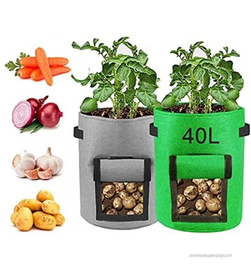 Sacs à Plantes Sacs de Plantation 10 Gallons 40L Sac de Légumes Sac de Jardin pour Pommes de Terre Carottes Fraises 35 x 40 cm Tissu Durable2 pcs