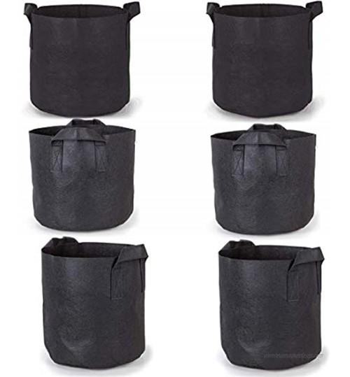Sacs de culture Paquets de 6 packs 7 gallons de pour plantes de jardin Vases en tissu polaire avec poignées de ceinture Sacs de culture noirs 7gallons