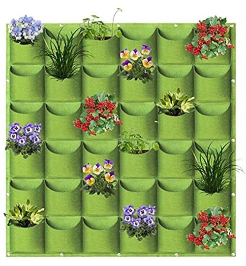 Sacs de plantation à suspendre à 36 poches à fixer au mur à la verticale pour plantes aromatiques jardinage intérieur et extérieur 1 m x 1 m vert