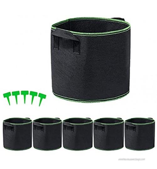 WJJU Sacs à Plantes 5 Sacs de Plantation Non Tissés épais avec Poignées Noir 30L avec 5 étiquettes