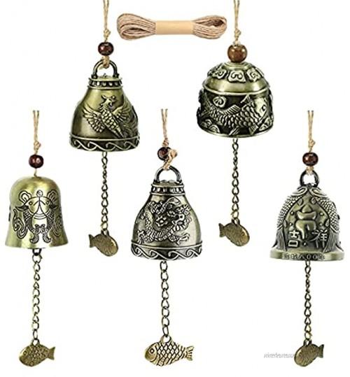 Carillon du Vent 5PCS Bénédiction Feng Shui Carillons Décoratifs D'extérieur Suspendu Chanceux Chinois Carillon à Vent Phoenix Cloche de Métal Bois Bronze Windchime pour la Maison et Jardin