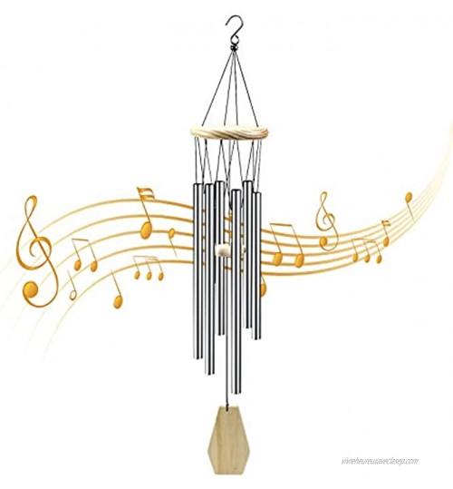 Carillons De Vent en Bois de Pin Carillon à Vent de Jardin 6 Tubes en Aluminium Carillons de Vent Musical pour Extérieur Carillons Éoliennes pour Patio Jardin Arrière-Cour Maison Décoration-80cm