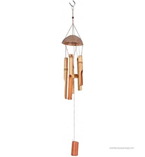 Fablcrew Carillons Éoliens en Bambou,Carillon à Vent en Bambou et Noix de Coco Décoration Suspendu pour Intérieur et Extérieur,Jardin