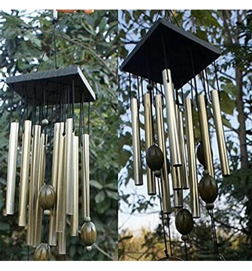 Inknows 1 grand carillon à vent en cuivre avec tubes en cuivre pour décoration d'extérieur de cour de jardin de la maison de la décoration