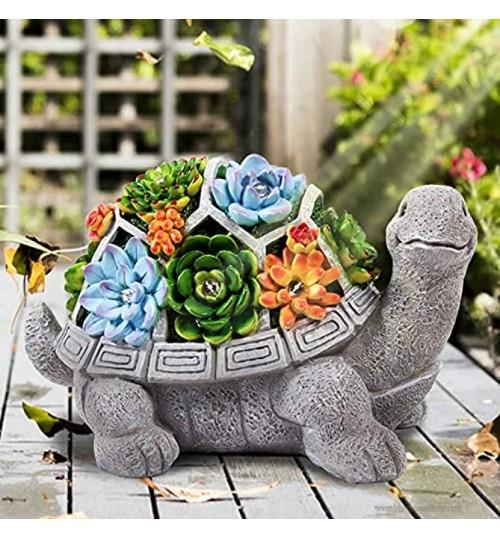 HANGOU Statue Jardin Exterieur Ornement de Tortue Figurines avec Lampes Solaires Décoration Jardin pour Patio Yard Lawn Cadeaux de Jardinage