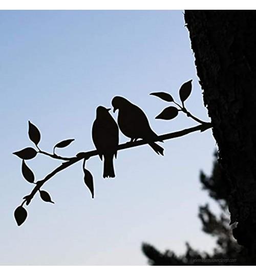 XeonZone Silhouette en Acier d'oiseau en Métal,Statue Oiseaux Décor d'arbre d'art de Figure,Oiseaux sur la Branche de Décoration Murale d'art en Métal à Suspendre pour Jardin Intérieur Extérieur,C