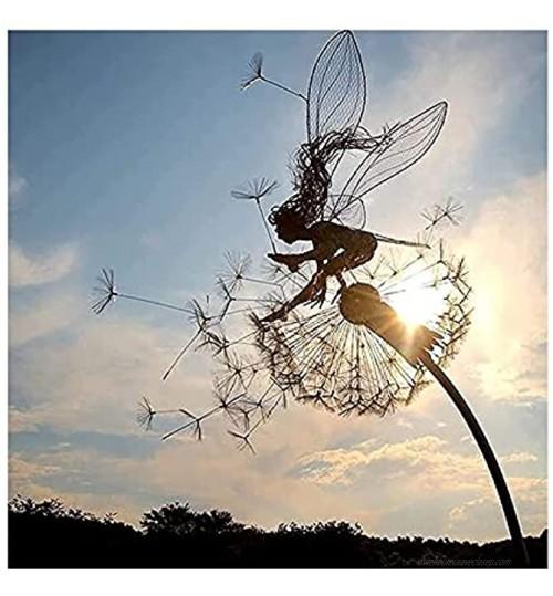ZNKITES Férédies Dissélions Garden Art Sculpture Dance Ensemble Jardin Décorations en Acier Inoxydable Jardin Fairy Ornements Fairy Sculpture Jardin Dandelion pour décoration en extérieur Color : C