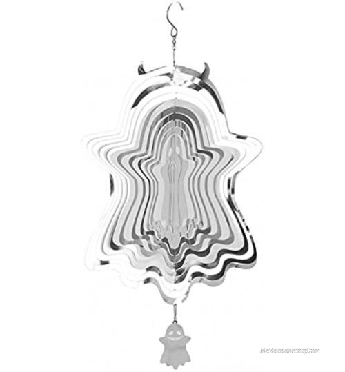 EliteMill Mobile à vent sur le thème d'Halloween 3D fantôme araignée citrouille sculptures en acier inoxydable pendentif créatif à suspendre pour la maison le jardin la cour