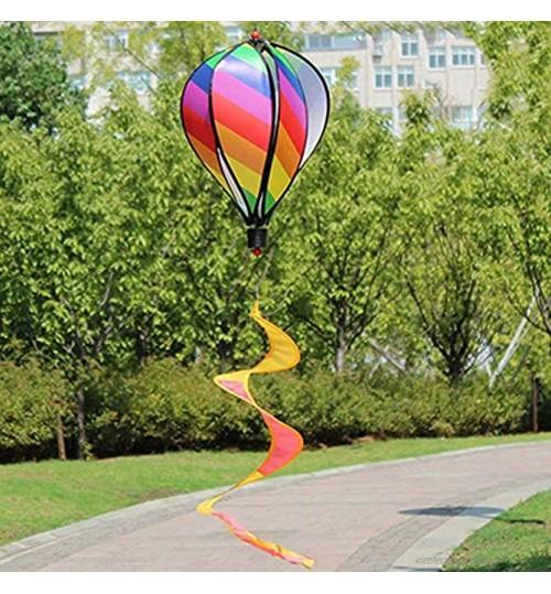 Mobile à vent 6 panneaux arc-en-ciel montgolfière décoration à suspendre pour cour et fête de jardin style 1