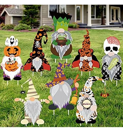 Gehydy Halloween GNOME Yard Signe Décorations 8 PCS Effrayant GNOME Fantôme Squelette Momie Yard Signe en Plein Air Pelouse Partie Ornements Passerelle Jardin Décor 15x9 Pouces