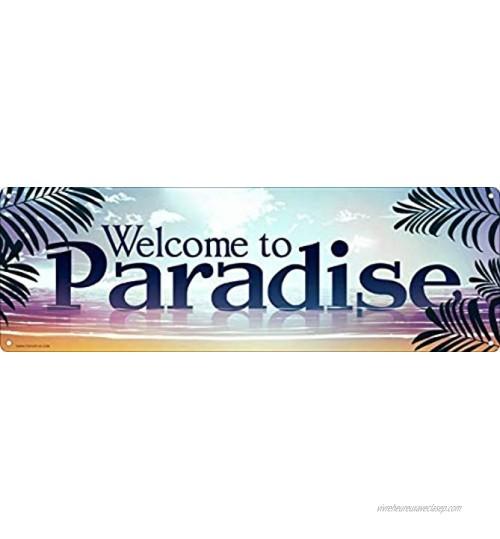 Panneau de rue « Welcome to Paradise » 10,2 x 40,6 cm En aluminium Antirouille Résistant aux UV et aux intempéries