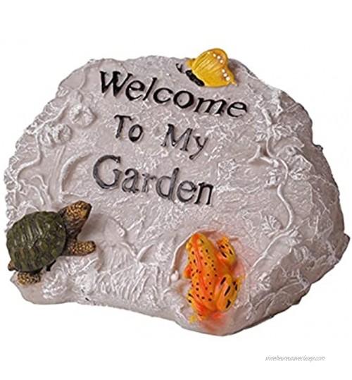 Signe de Bienvenue Statues de sculptures de signalisation de bienvenue Résine de jardin en plein air faux rocaille Bienvenue Sculpture Artisanat créatif pastoral pour la pelouse de jardin Panneau de