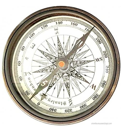 Boussole en laiton de style nautique antique avec cadran solaire poème 5,1 cm
