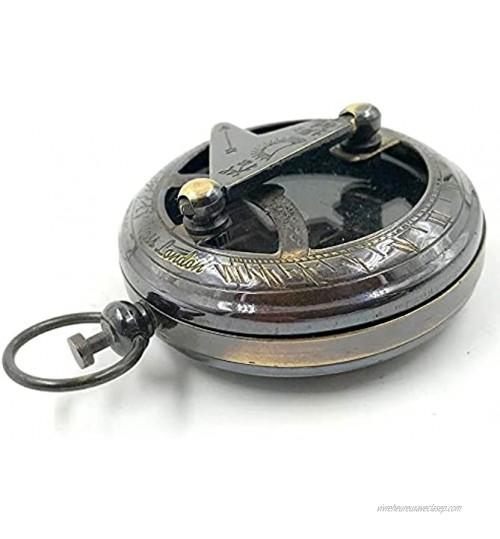 Boussole nautique en laiton avec cadran solaire à ouverture par pression et finition noire antique 4,4 cm