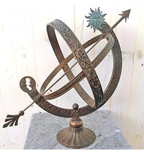 H. Packmor GmbH Sculpture en bronze Cadran solaire et lune Décoration pour la maison et le jardin 30 x 48 x 30 cm