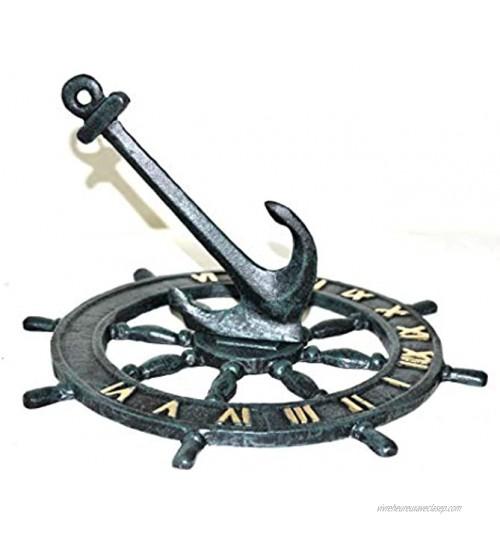 Haute Collage Cadran solaire nautique classique comme une roue de bateau Décoration de jardin 24 x 24 cm Poids 1 kg