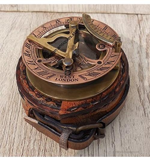 Maritime Museum Store C-3058 Boussole à cadran solaire de poche en laiton antique West London Fait main