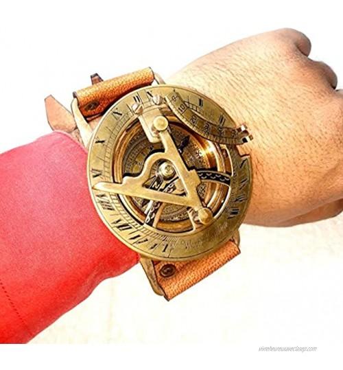 Montre à cadran solaire en laiton style antique steampunk avec bracelet en cuir fait à la main