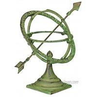 relaxdays vert Cadran solaire design antique décoration de jardin résistant fixage au sol 42cm fonte