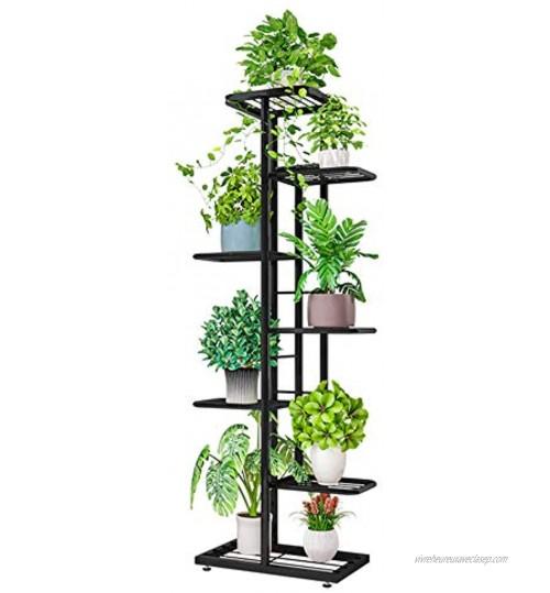 ZZBIQS Étagère de rangement en métal à 7 niveaux pour pots de fleurs Pour le coin intérieur du balcon Gris foncé