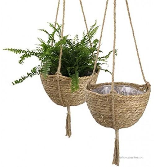 Mumaya Paniers tressés à suspendre au mur pot de fleurs suspendu en tissu panier en osier suspendu