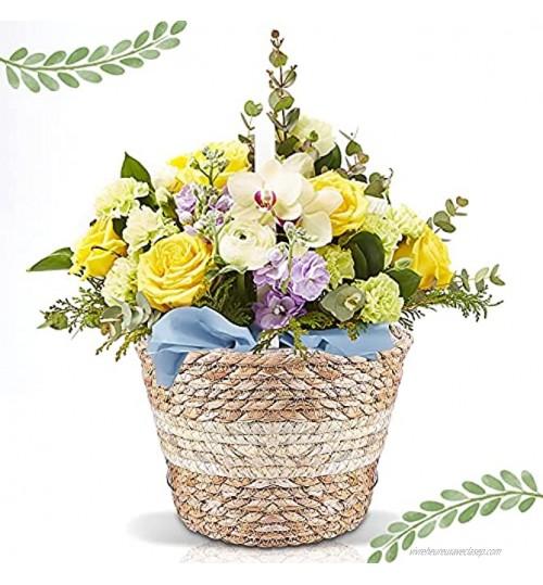 Plante Naturels Panier Panier de jardinière en jonc de mer Panier Plante Seagrass Pot de Fleurs Tissé Panier pour Décoration Intérieure ou Extérieure Blanc