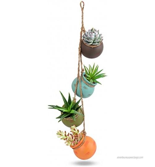 FORMIZON Fleurs en Céramique Pots 4 Pièces Pot à Succulents en Céramique Mini Pot de Succulent avec Corde en Jute Jolie Multicolores Pot Suspendu pour Petites Plantes Décoration Horticole Jardin