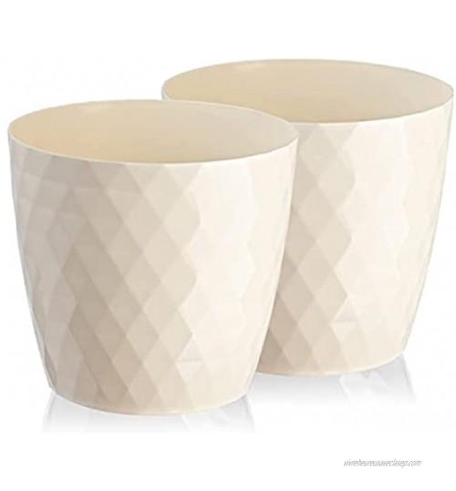 Lot de 2 pots à fleurs plantes légers brillants et décoratifs en plastique forme ronde moderne pour l'intérieur 20 cm crème