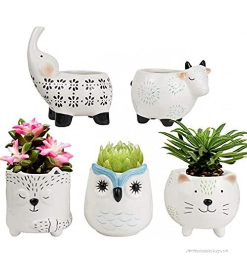 Pots de fleurs en céramique pour plantes succulentes Ensemble animal mignon en forme de chat vache éléphant renard hibou décoration d'intérieur