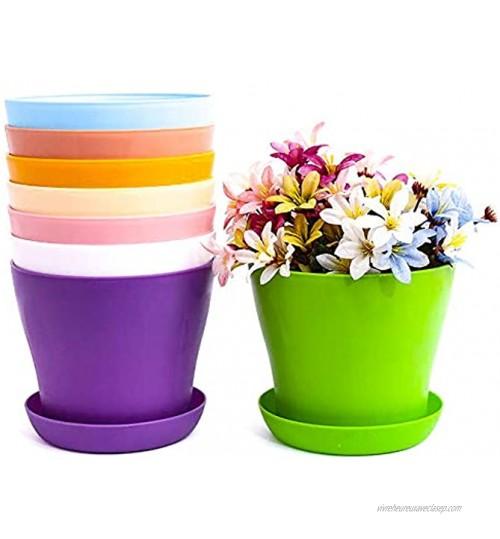 Pots Fleurs Pots De Fleurs En Plastique Colorés,8 Pcs Petits Pots Plantes Coloré Pot Pépinière Plastique Intérieur Jardinière Ronde Conteneurs De Succulentes Pour Maison Bureau Avec Palettes