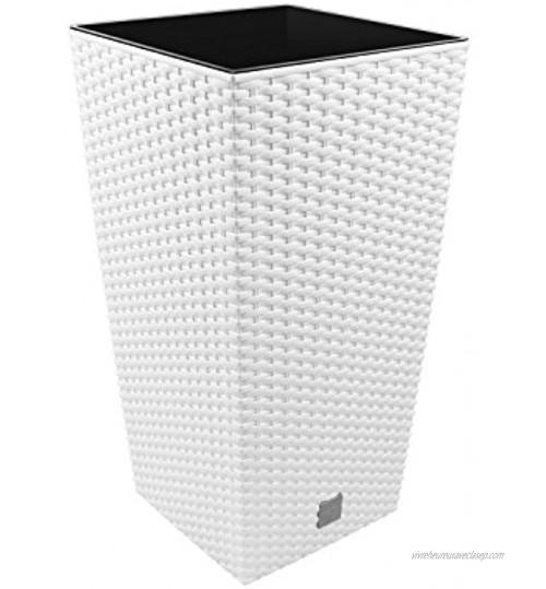 """Prosper Plast Drts265-s44926.5x 26.5x 50cm """"Rato"""" carré Pot de fleurs–Blanc"""
