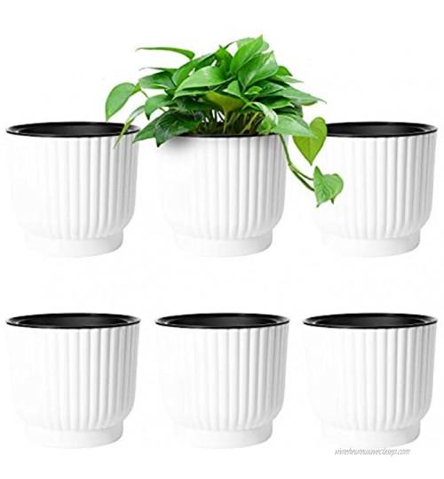 T4U 6pcs Bac à Fleurs Auto-Irrigation Plastique Rond Blanc Pot avec Réserve d'eau Pot avec Système d'Arrosage pour Planter Les Plantes Fleur Facilement Décoration pour Jardin Maison