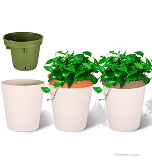 Viesap Pot De Fleur 3 Pcs Pots De Fleurs 12.5cm Pot De Fleur Plastique Pot De Fleur Interieur Pot De Fleur Exterieur Deux Niveaux Decorative Pot De Jardin Auto-Absorption Pot De Fleur Blanc.